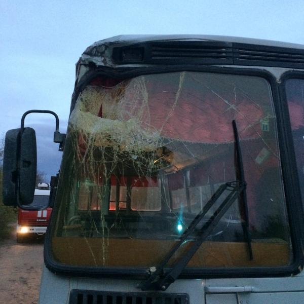 В Кирово-Чепецке автобус врезался в остановку