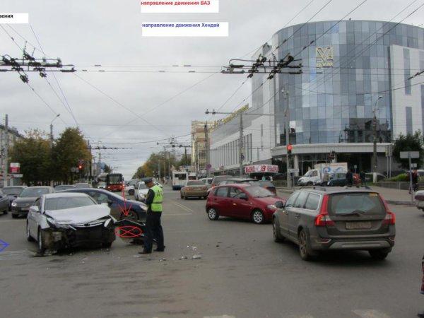 В Кирове на перекрестке у ЦУМа столкнулись две легковушки