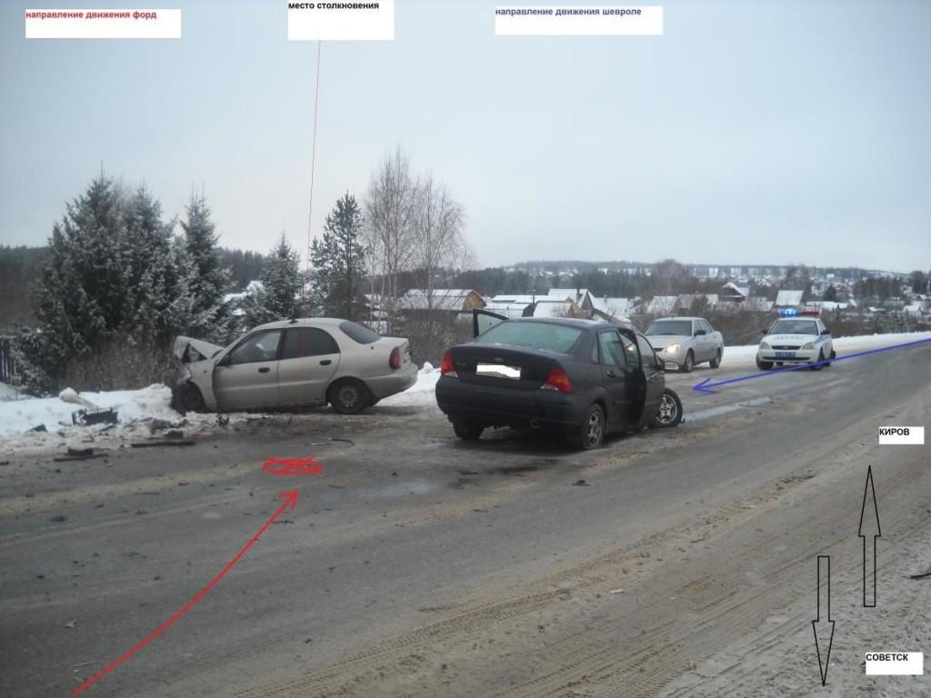 На трассе Киров – Советск столкнулись две иномарки: трое пострадавших