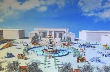 Каток на Театральной площади зальют вокруг елки