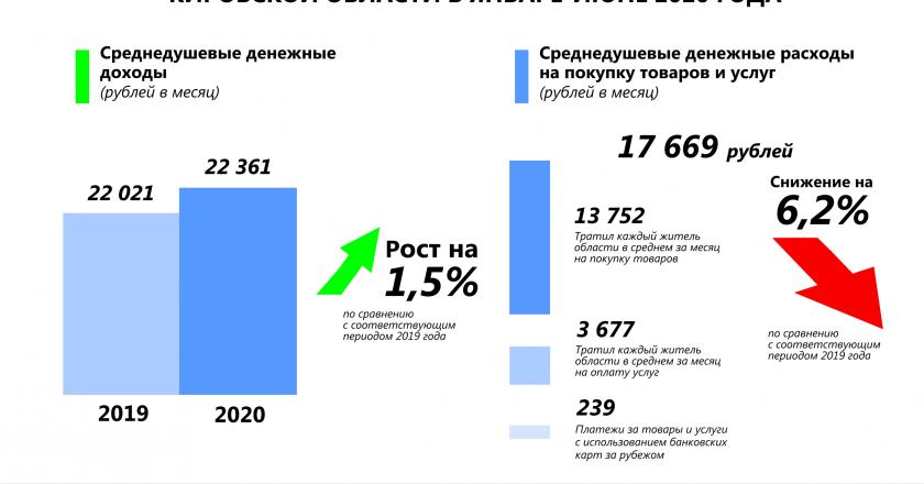 В среднем жители региона оплачивают товары в месяц на сумм 13752 рубля в среднем за месяц (95,5 процентов к соответствующему периоду 2019 года), на оплату услуг - 3677 рублей (88,5 процентов).